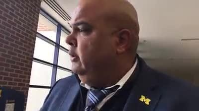 Michigan athletic director Warde Manuel takes questions from the media on Wednesday, April 18, 2018, in Ann Arbor. Video by George Sipple/DFP