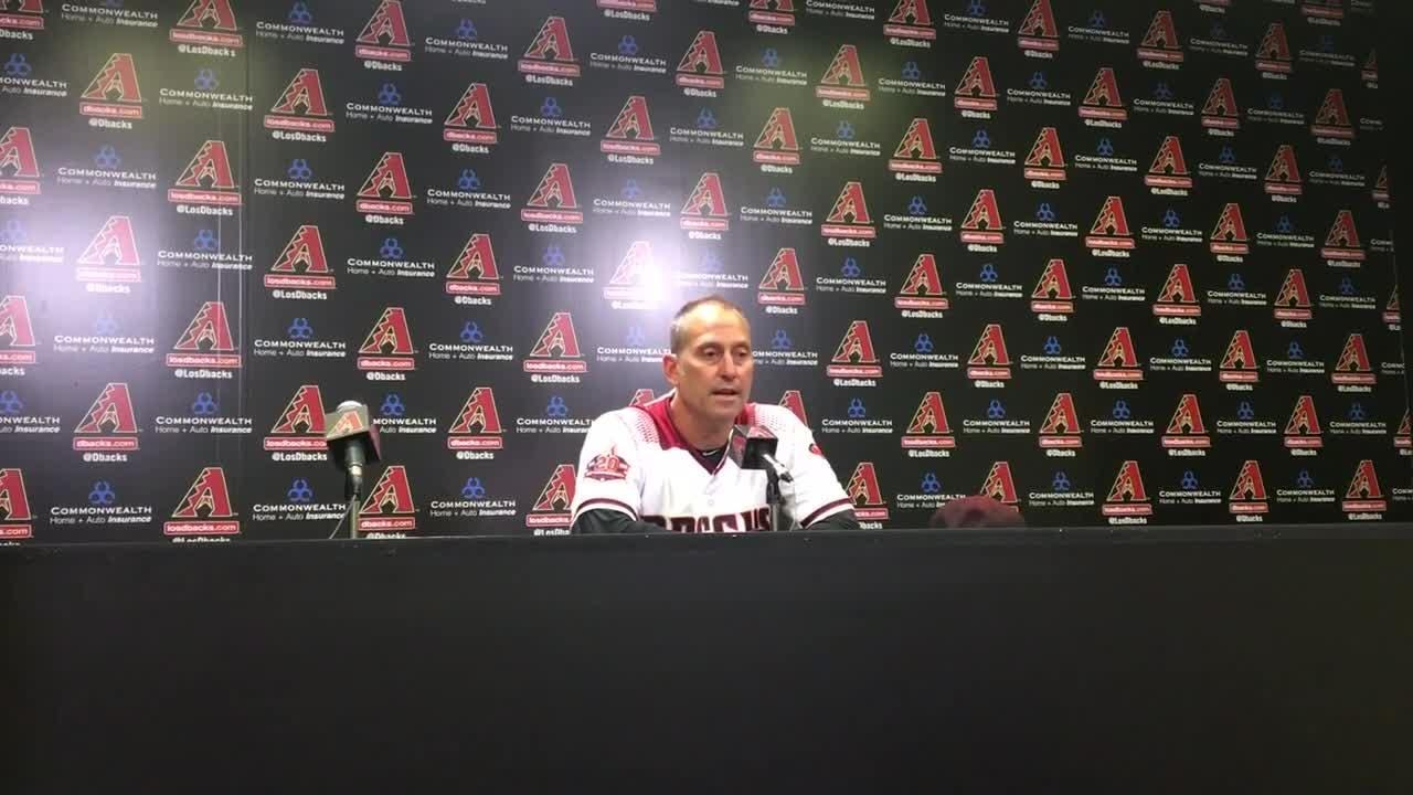 Diamondbacks manager Torey Lovullo discusses his team's 4-3 loss to the San Francisco Giants on Wednesday.