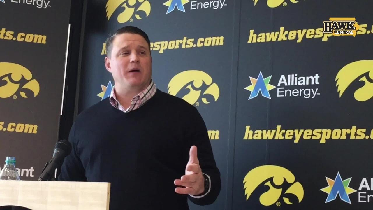 Iowa offensive coordinator Brian Ferentz  also explains (in animated fashion) why it's irrelevant where he sits/stands on game days.