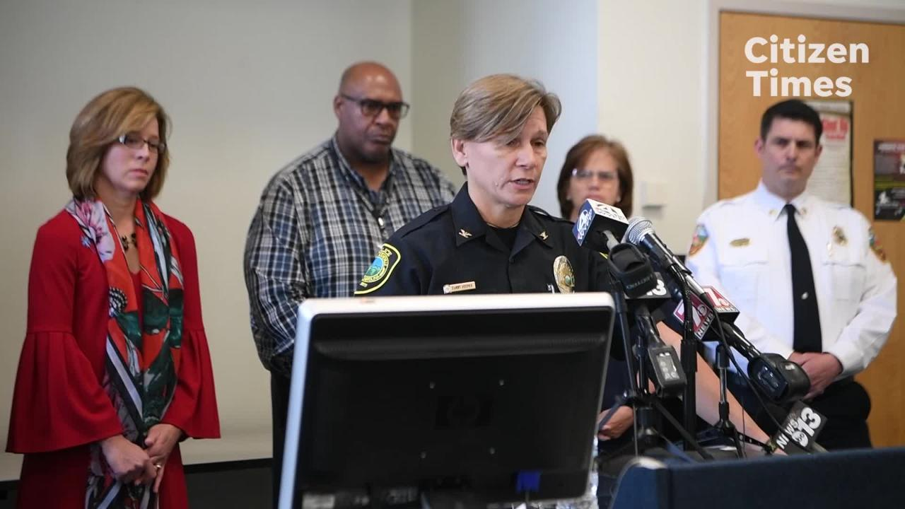 Asheville Police Chief Tammy Hooper gives a press conference about the West Asheville shooting that killed four and injured three others Wednesday night.
