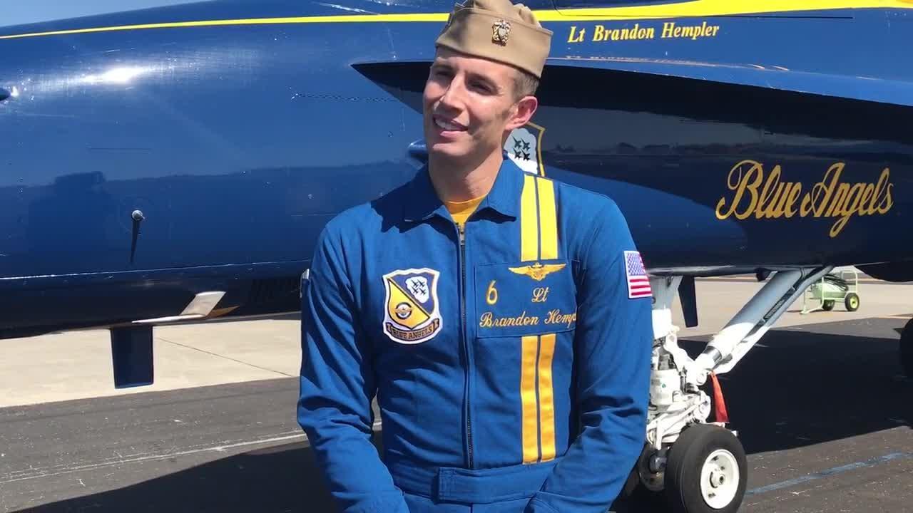 Blue Angels pilot Lt. Brandon Hempler talks at Vero Beach Regional Airport