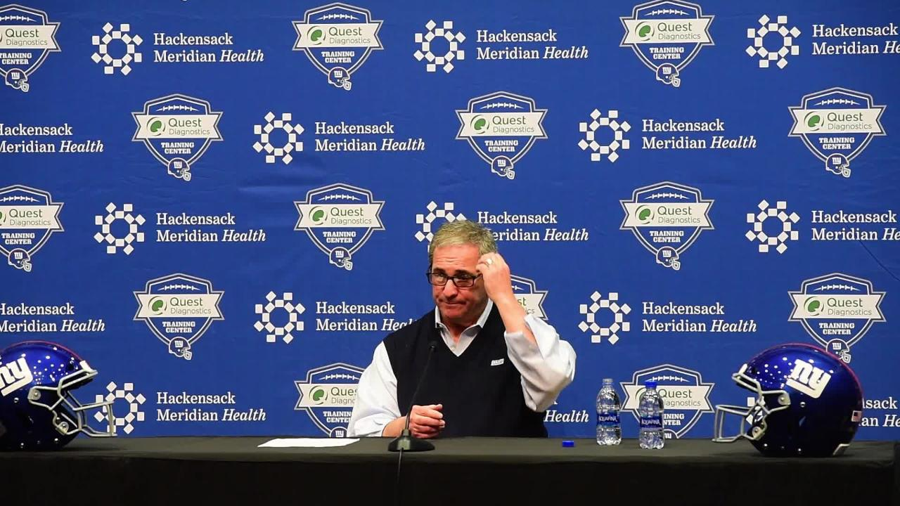 Giants GM Dave Gettleman holds a press conference to discuss upcoming NFL Draft