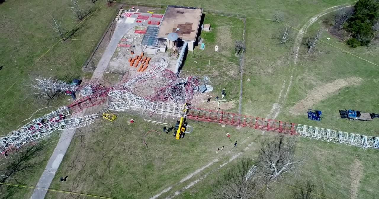 An aerial view from 417 Drone Imaging shows the aftermath of a TV tower collapse.