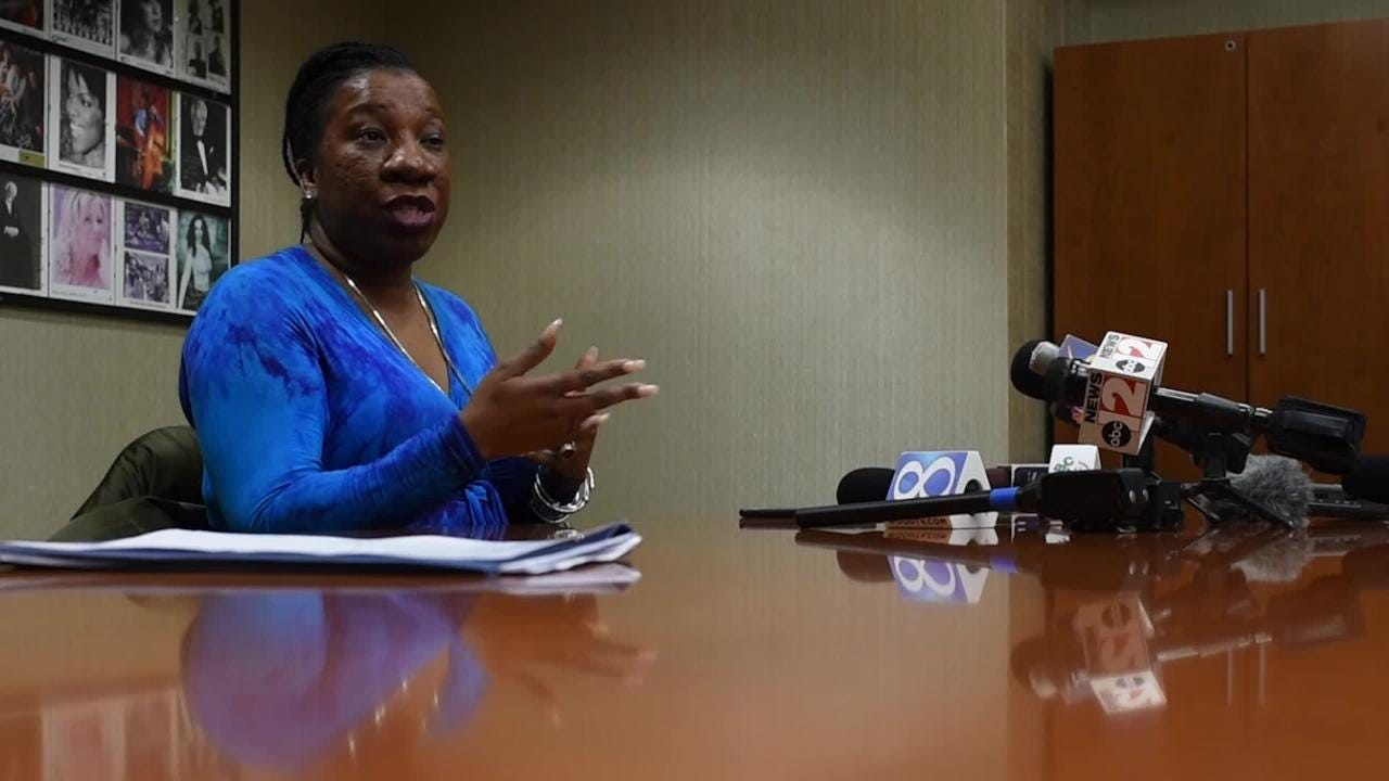 Tarana Burke, founder of the #MeToo movement, talks about MSU's handling of the Nassar case before her event at the Wharton Center on April 19, 2018.