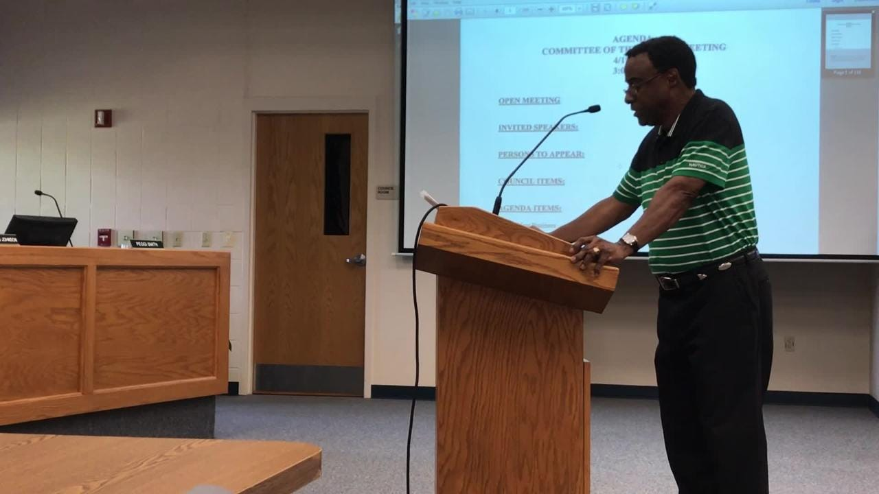 Milton resident Al Brewton demands an apology from Mayor Wes Meiss, who Brewton said used an expletive toward him after an April 10 city council meeting.