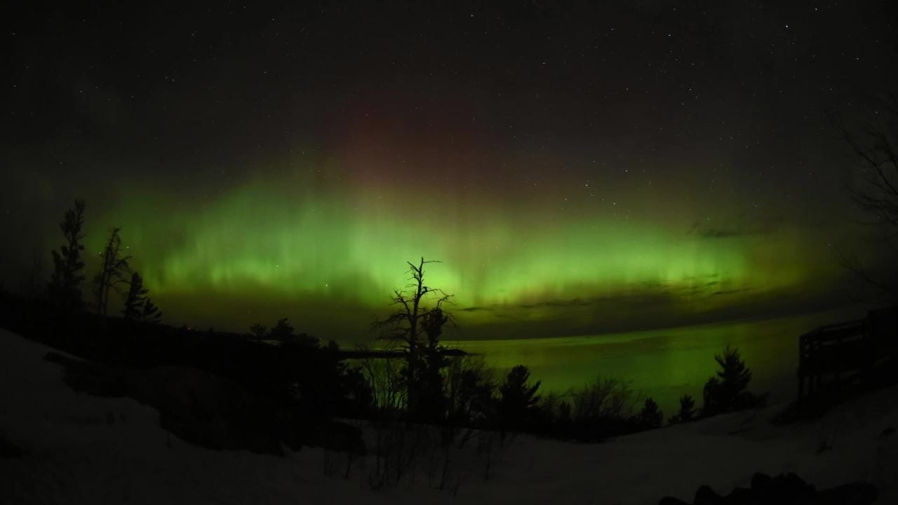 The northern lights could be seen from Marquette, Mich. on April 20, 2018.