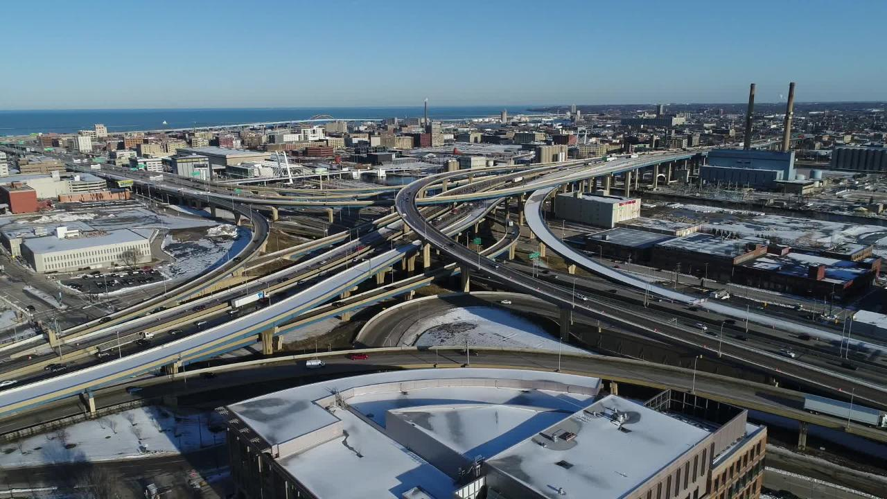 An aerial view the Marquette Interchange in downtown Milwaukee - highway interstate I43 I94 94 43 traffic construction city drone aerials journalism