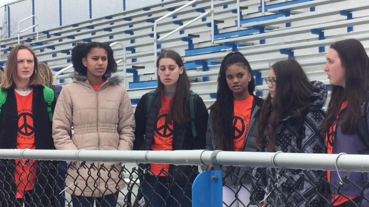 South Burlington High School students walked out of class on April 20, 2018 to honor the victims gun violence and  demand national gun control changes.