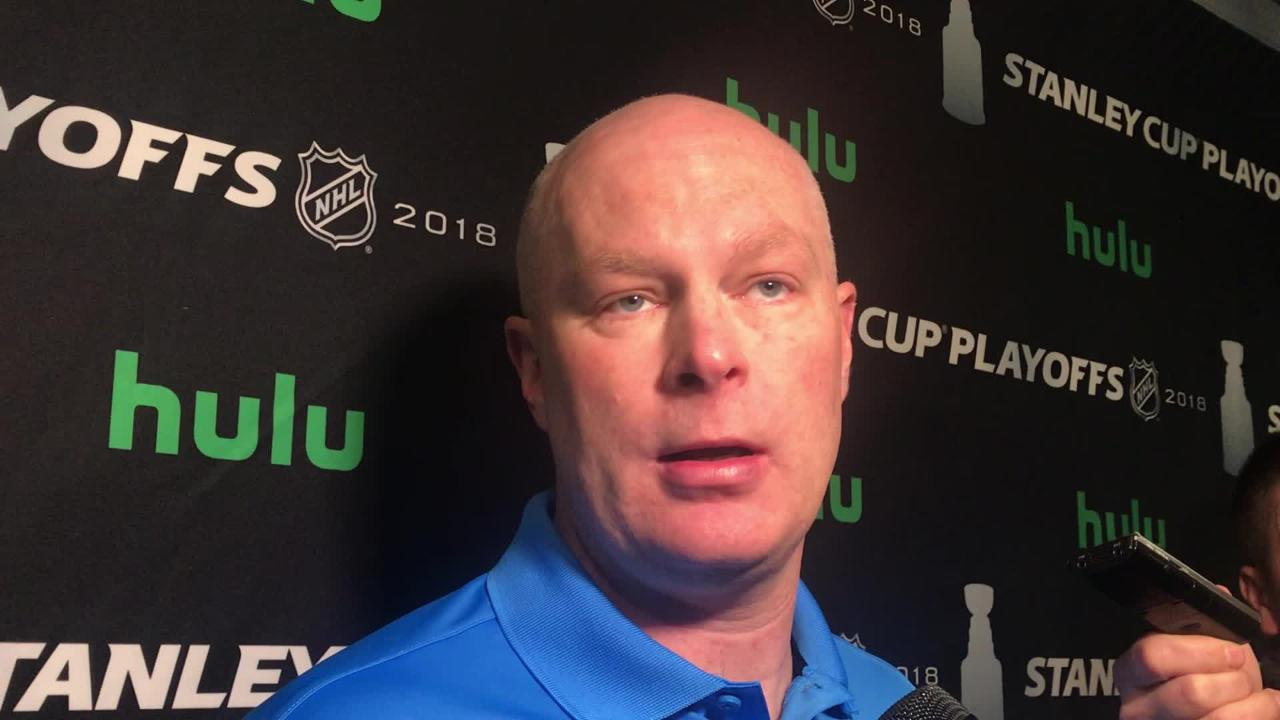 Devils' coach John Hynes talks about the message ahead of Game 5 of the Eastern Conference quarterfinal series against the Tampa Bay Lightning.