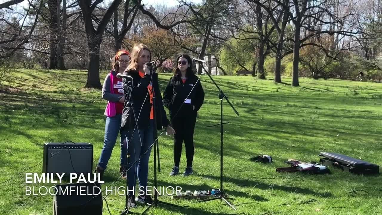 Students from Bloomfield, Montclair and Nutley discuss school gun violence at Brookdale Park in Bloomfield and Montclair on Friday, April 20, 2018.