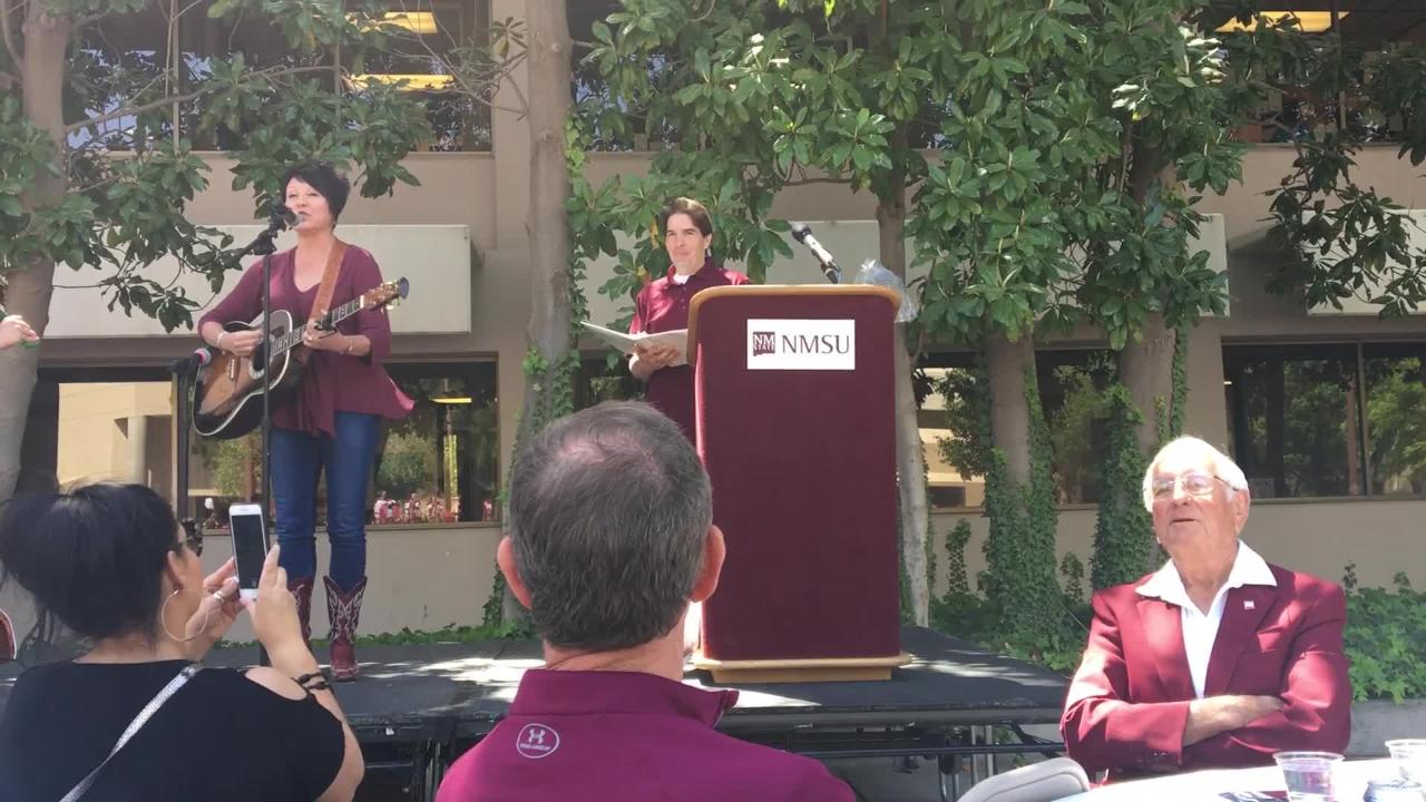 "Bernadette Montoya, Vice President for Student Affairs and Enrollment Management, sings ""Happy Trails"" to say farewell to Chancellor Garrey Caruthers and Provost Daniel Howard, during the Founders day celebration at New Mexico State University, Friday April 20, 2018."