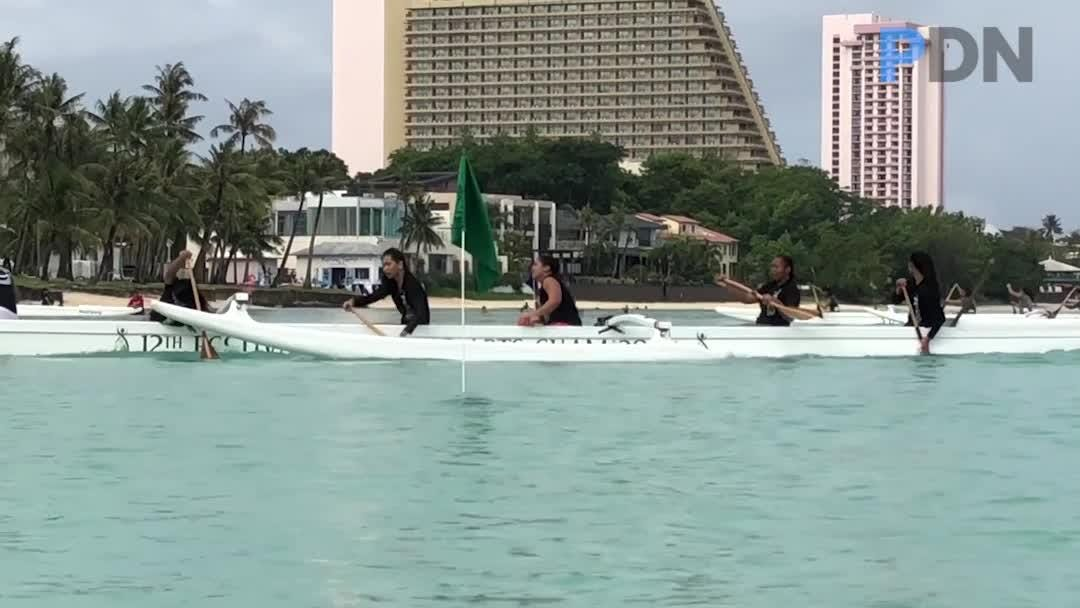 High school teams buried and pulled paddling blades through the waters of Tumon Bay during the latest races of the Independent Interscholastic Athletic Association of Guam and the Guam Kayak and Canoe Federation Paddling series at Matapang Beach on Saturday, April 21, 2018.