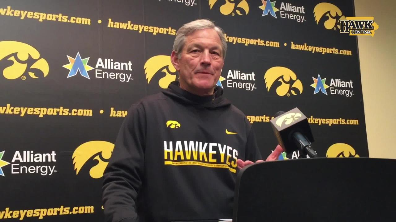 """Iowa coach Kirk Ferentz speaks after the final spring practice of 2018, noting (as he always does) the Hawkeyes are hardly """"game ready."""""""