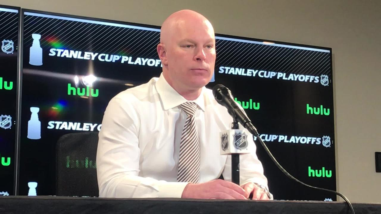 Devils' coach John Hynes talks about changes to the defensive pairings ahead of Game 5 against the Tampa Bay Lightning.