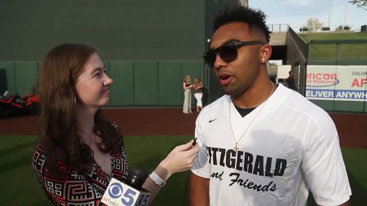 Christian Kirk talks to Katherine Fitzgerald about his NFL draft prep and softball skills at the Larry Fitzgerald Celebrity Softball Game on Saturday.