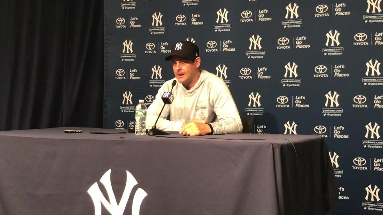 Manager Aaron Boone talks about what he's seen out of infielder Gleyber Torres on the day the 21-year-old makes his MLB debut, Sunday, April 22, 2018.