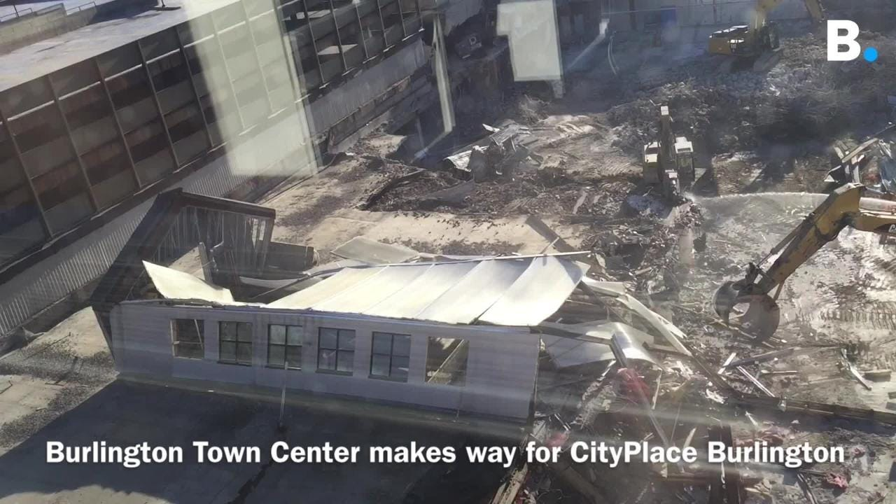Giant claw takes down atrium in Burlington mall demolition