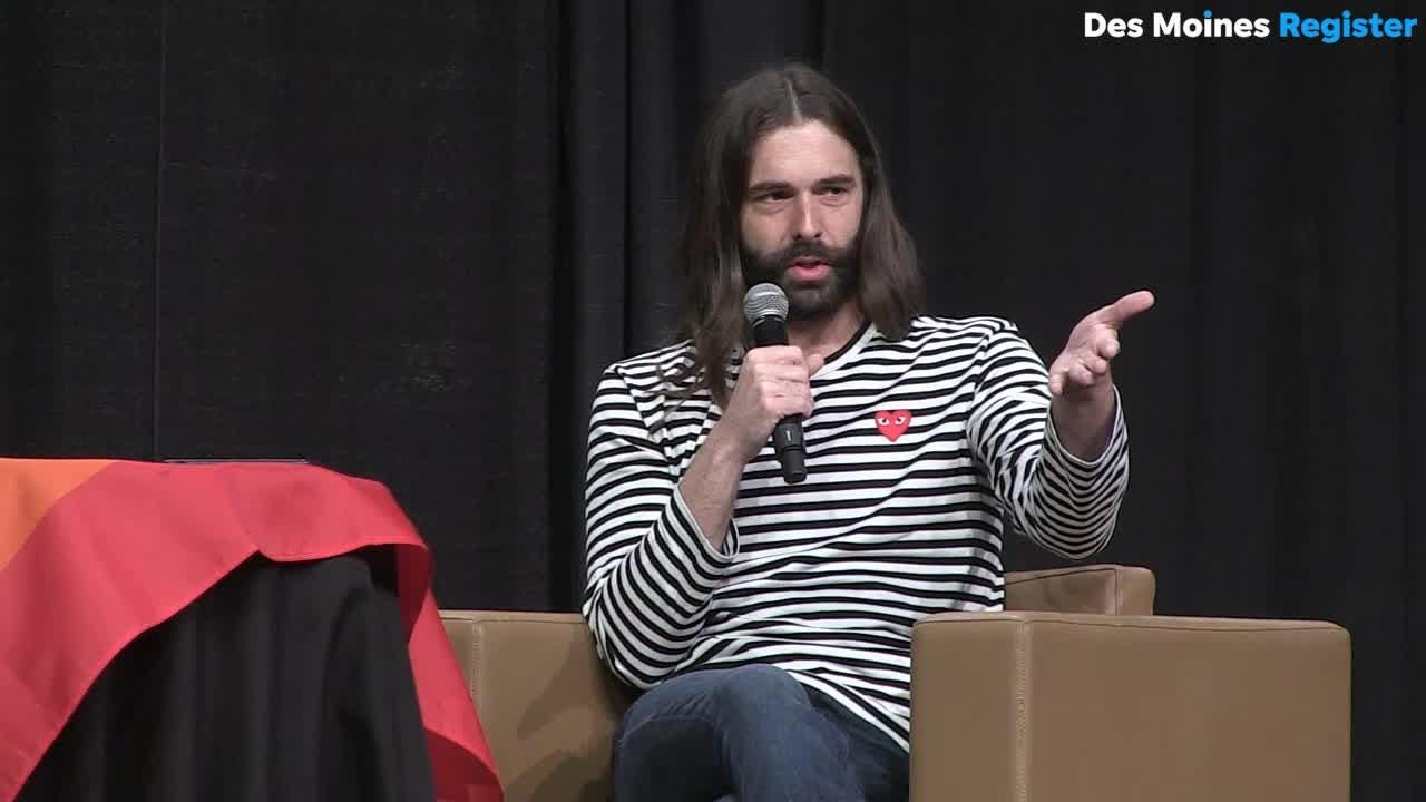 Netflix star Jonathan Van Ness speaks to students on the power of visibility at the Iowa Governor's Conference on LGBTQ Youth.