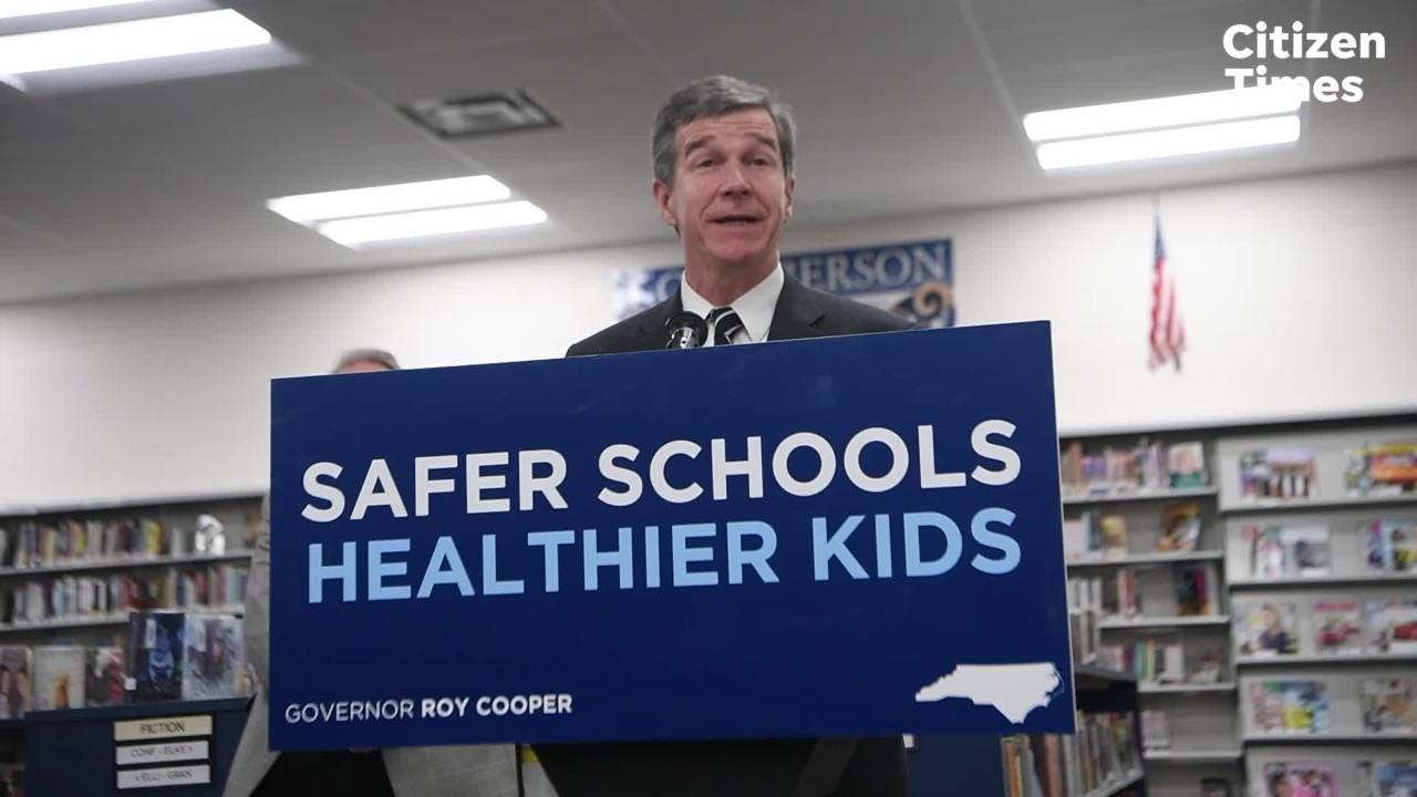 Governor Roy Cooper talks about budget proposals to improve school safety during a visit to Roberson High School on Monday, April 23, 2018.