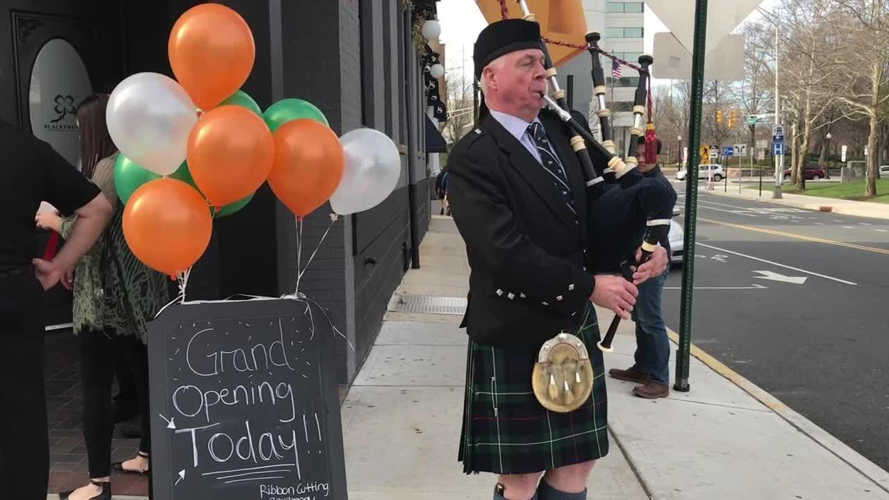 "Bridgewater-based bagpiper performs ""Minstrel Boy"" during the grand-opening celebration of Blackthorn Restaurant & Irish Pub in New Brunswick."