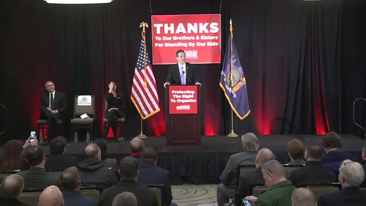 Gov. Andrew Cuomo spoke Friday, April 20, 2018 in Albany after local nurses formed a union