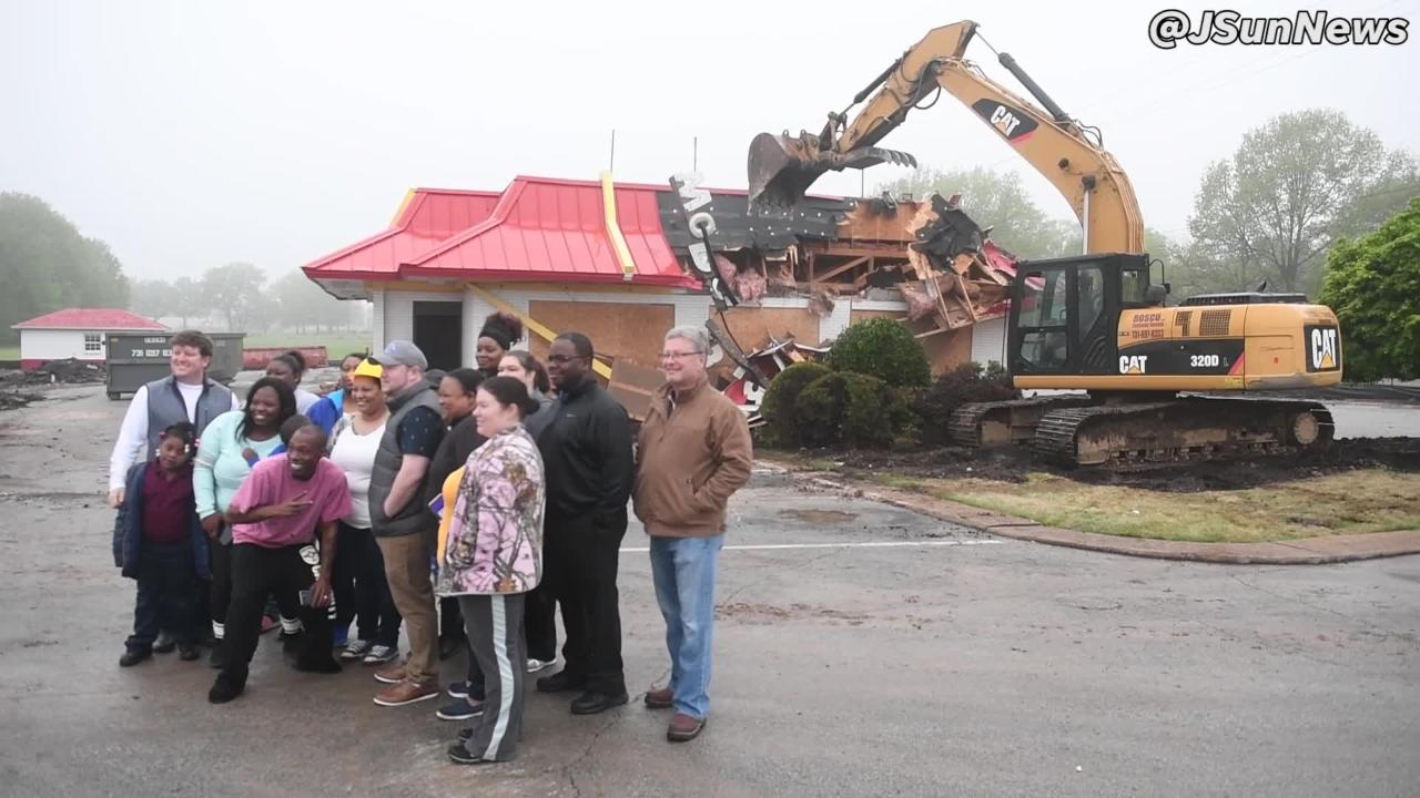 The McDonald's in Humboldt is demolished in order to make room for a modern design to be opened in late summer 2018.