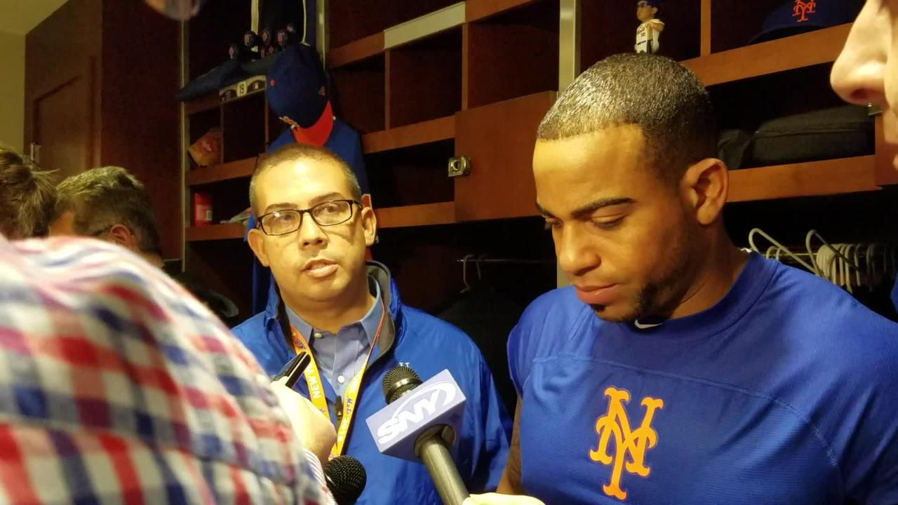 Yoenis Cespedes discusses his three-run homer and whether he's golfing again