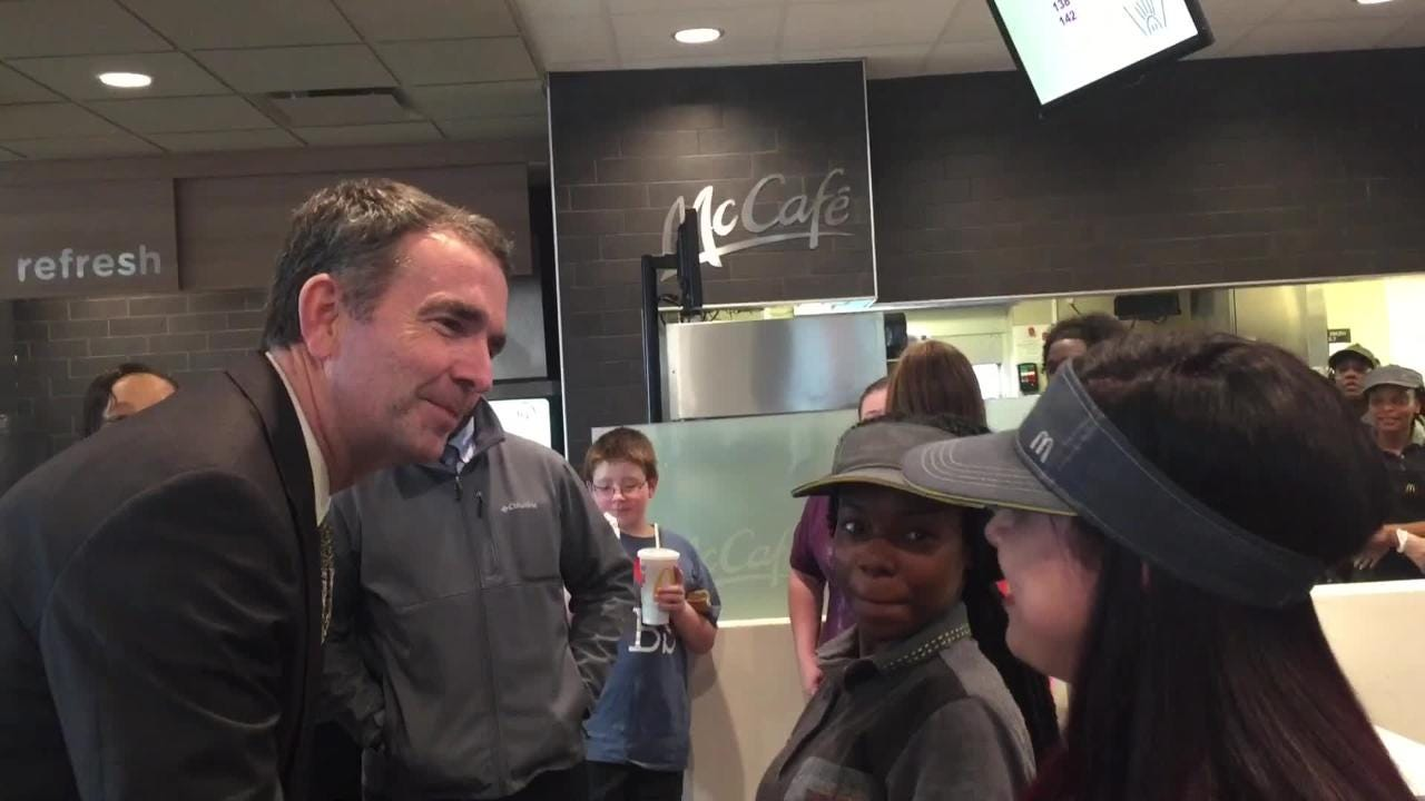 Gov. Ralph Northam delivered an accurate map of Virginia to a McDonald's in Onley, Virginia.