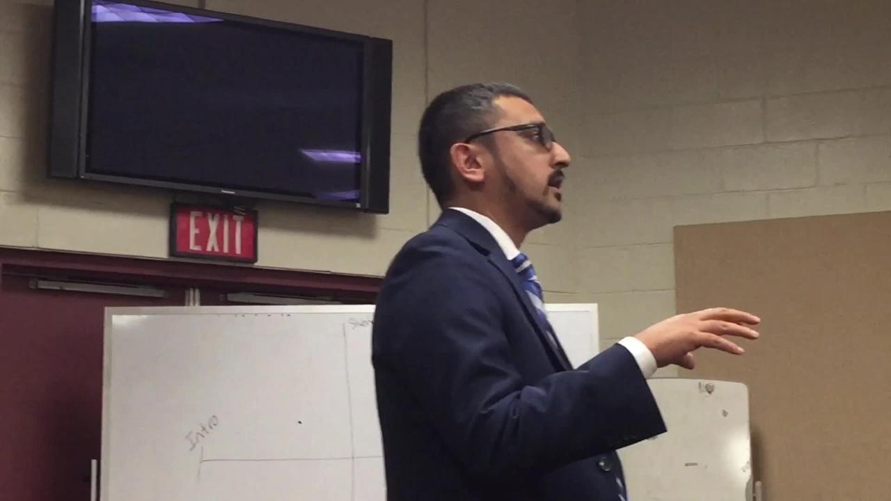 Secretary of Education Atif Qarni spoke at Eastern Shore Community College on Wednesday, April 25, 2018.