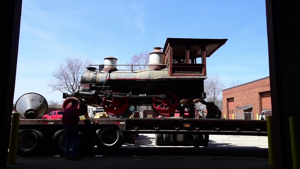 Video: D.B. Harrington train gets moved for restoration