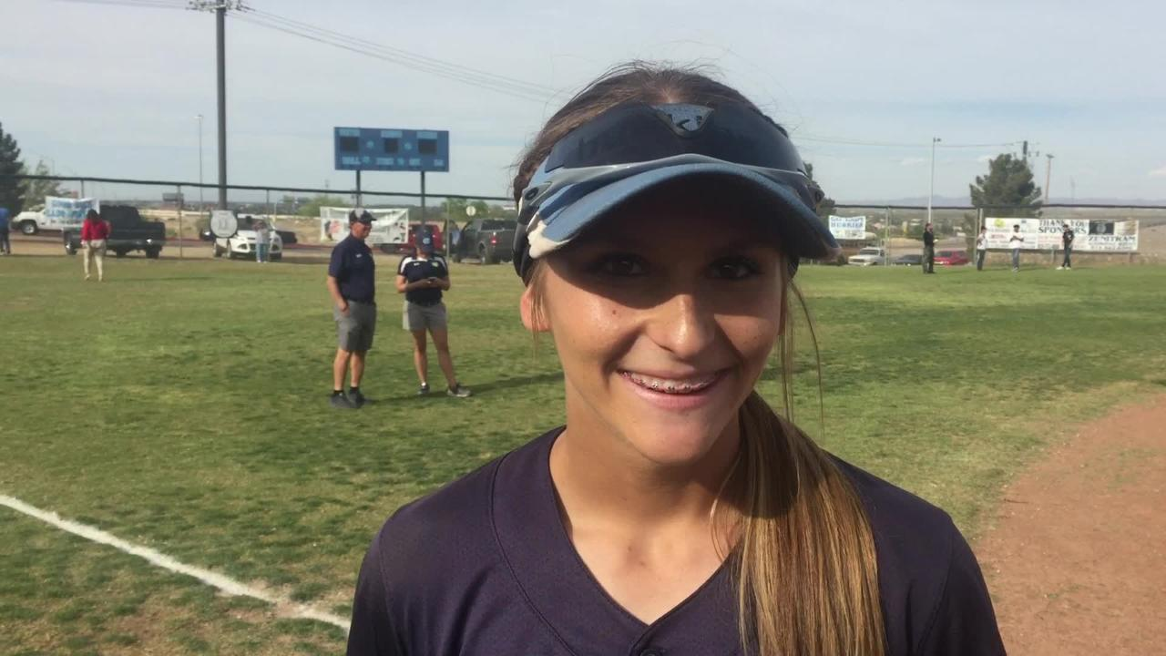 Chapin softball player Kristin Fifield talks after the Huskies beat Canutillo on Thursday in the Class 5A softball playoffs.