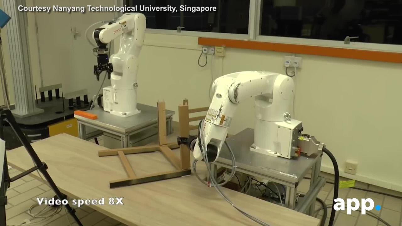 Courtesy of Nanyang Technological University, Singapore. Ikea furniture have you stumped? Get a robot. A team of researchers from Nanyang Technological University in Singapore built a robot that can build a $25 Ikea chair in about 20 minutes.