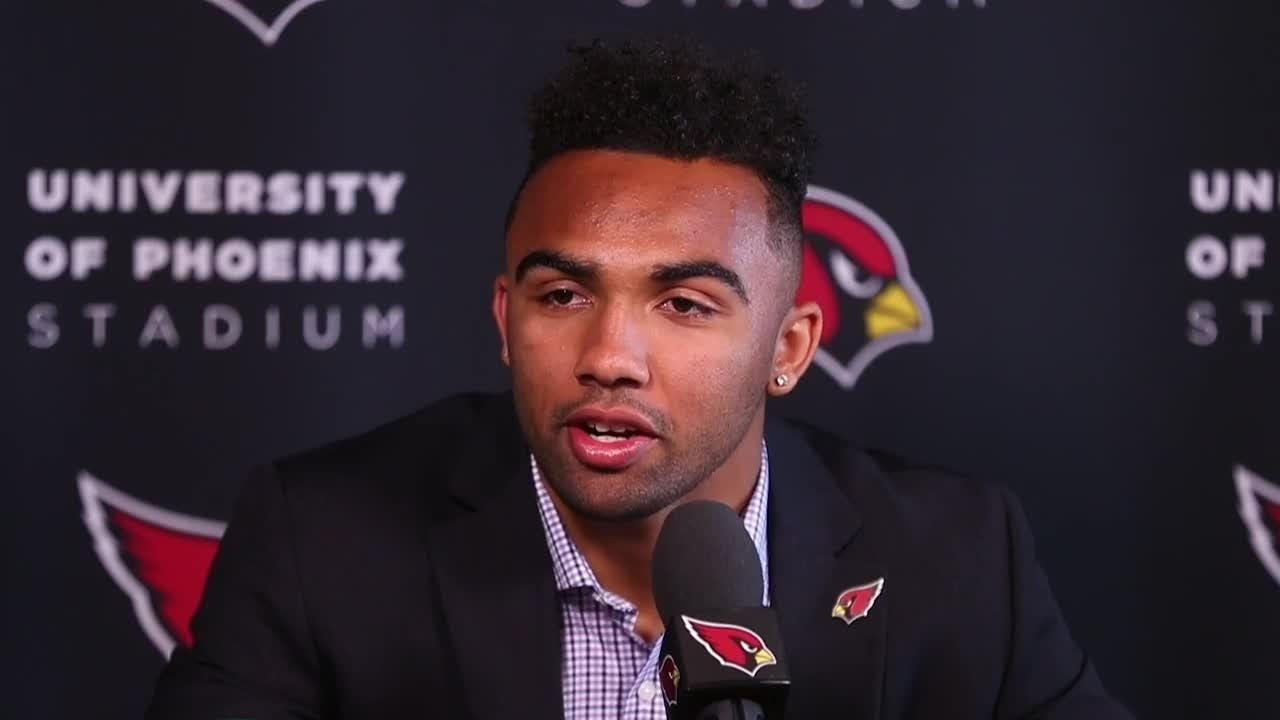 Former Saguaro receiver Christian Kirk discusses being drafted by his hometown Cardinals in the second round of the NFL draft on Saturday.
