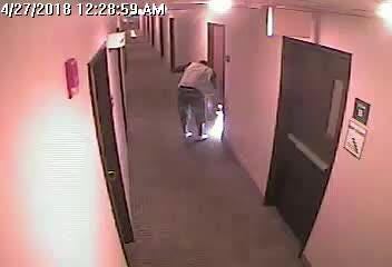 Surveillance video from the Woodsprings Suites, 2080 S. Triviz Drive, purportedly shows a man setting fire outside two hotel rooms in Friday, April 27, 2018. No one was injured.