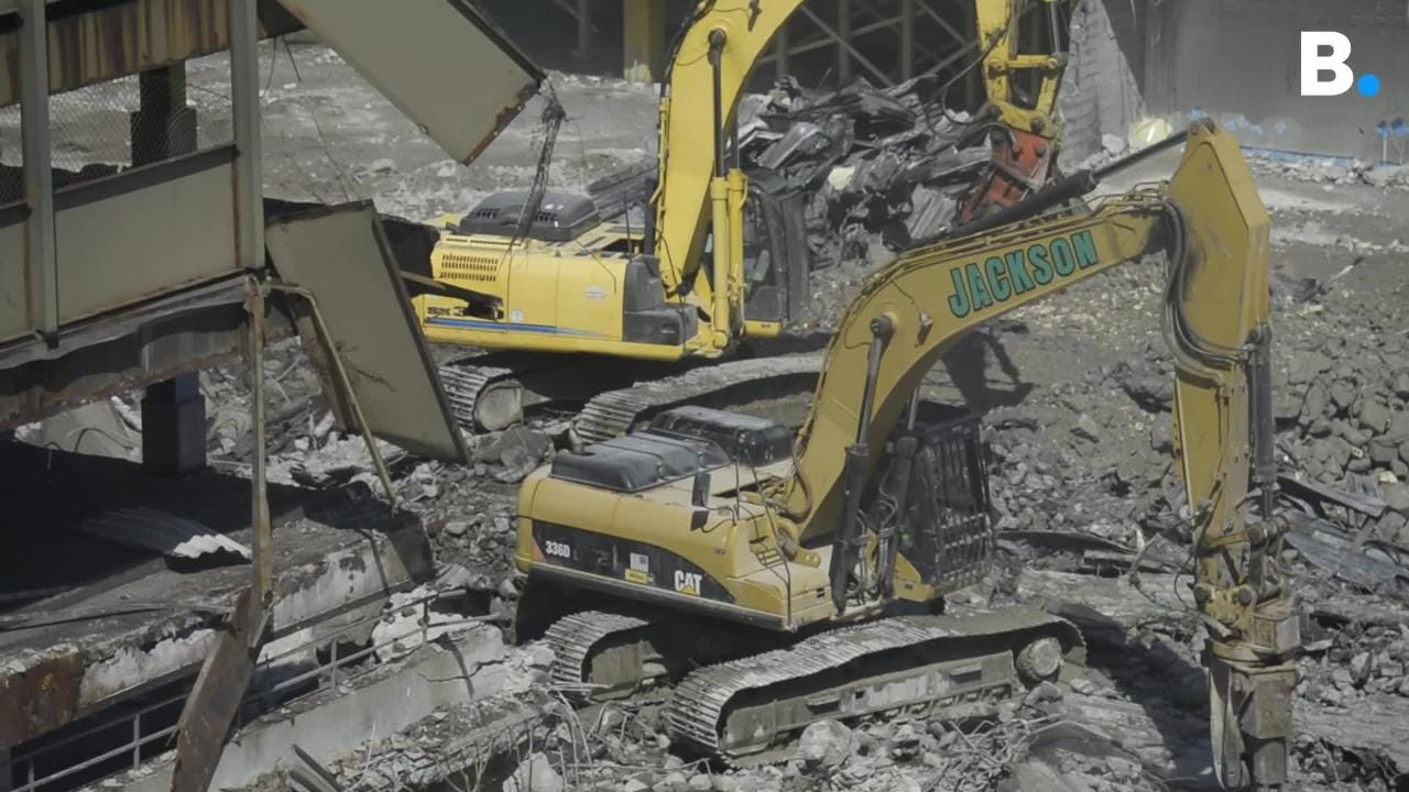 Heavy machinery starts to take down the former Burlington mall garage to make way for CityPlace Burlington.