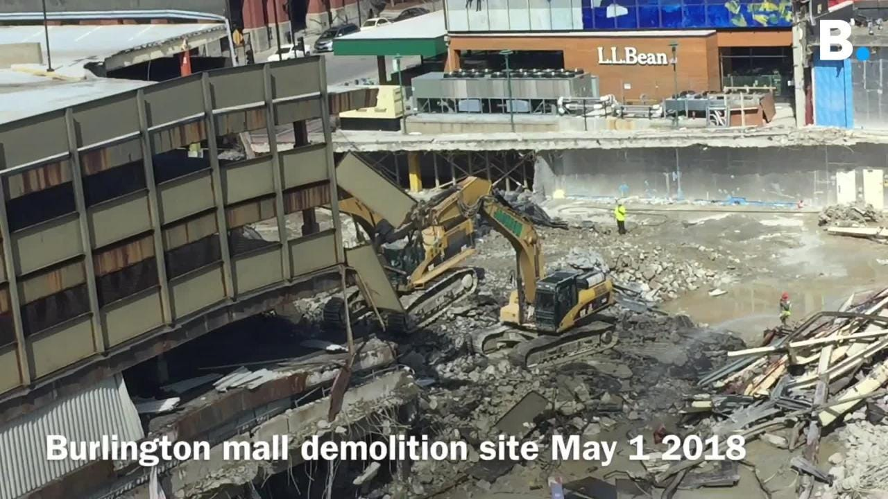 Heavy machinery begin taking down the parking garage to make way for CityPlace Burlington in Burlington, VT, May 1, 2018.