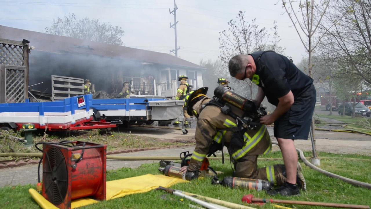 Lancaster, Hocking, Greenfield, Pleasant and Berne firefighters responded to a house fire at Coventry Circle Wednesday, May 2, 2018, in Lancaster.