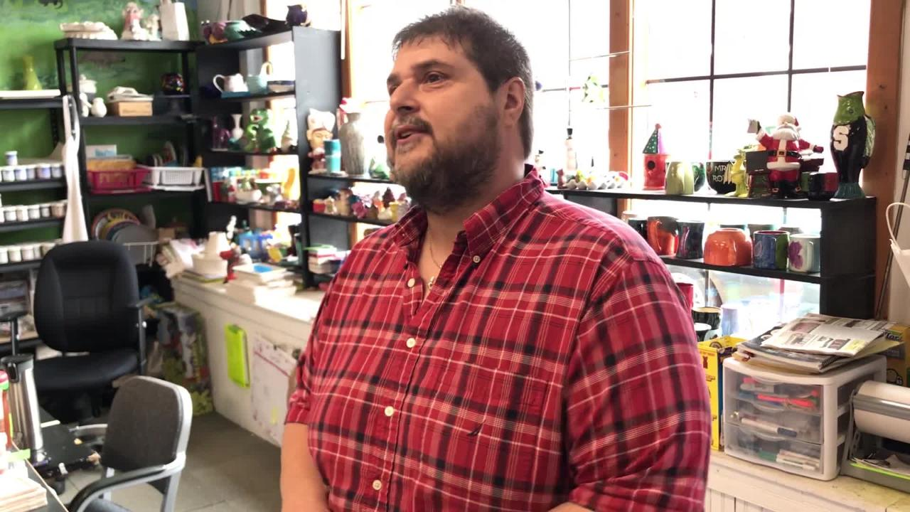 Jamie Lawson, co-owner of the Your Creative Escape paint your own pottery shop, talks in wake of the Meridian Magnesium fire in Eaton Rapids.