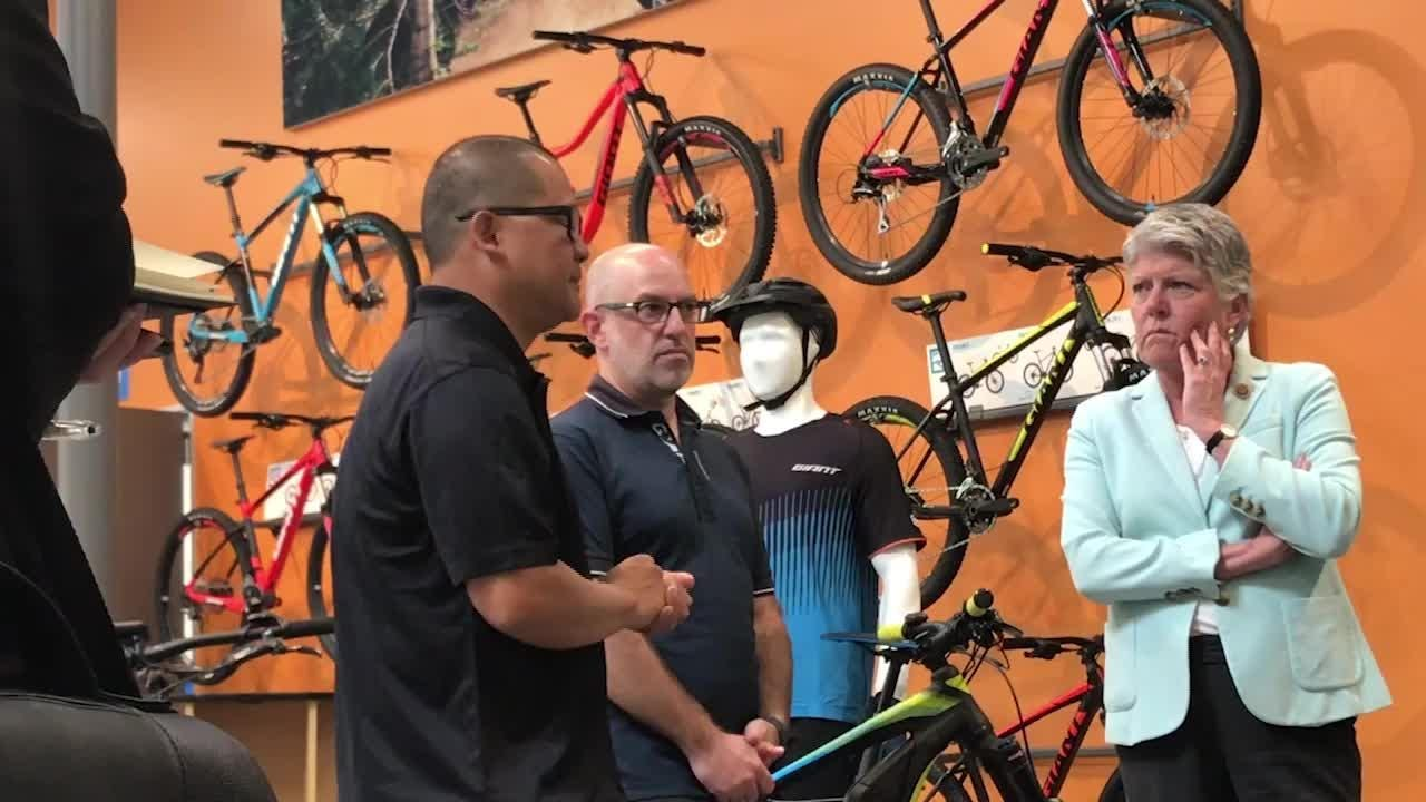 Congresswoman Julia Brownley tours Giant Bicycles Inc. in Newbury Park as part of National Bike Month to promote riding as an alternative to cars.