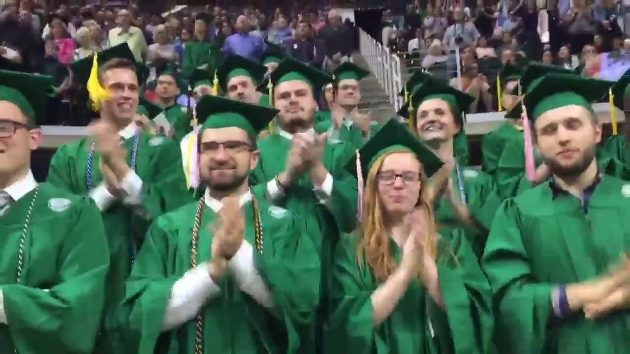 During Friday's 2018 commencement ceremony, Michigan State graduates cheered and sang along with the MSU Fight Song.