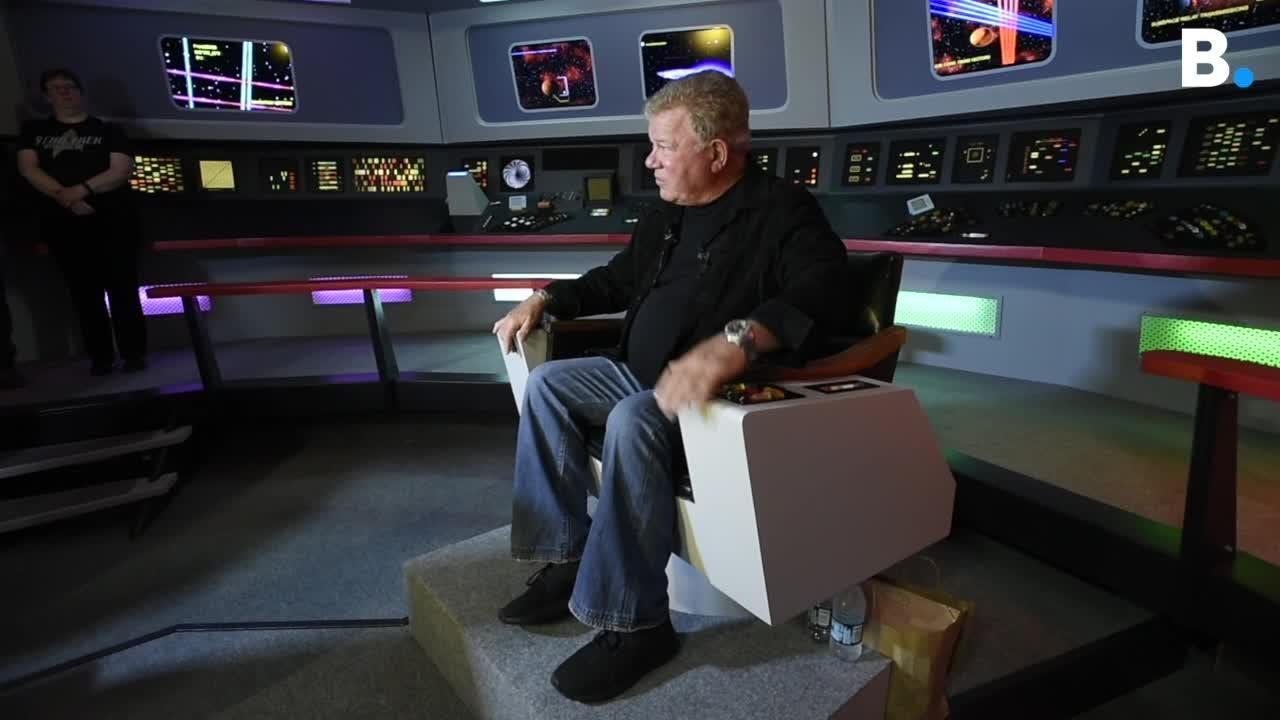 William Shatner sits in a replica of the bridge of the Starship Enterprise at Star Trek Original Set Tours in Ticonderoga N.Y. on Friday May 4, 2018.