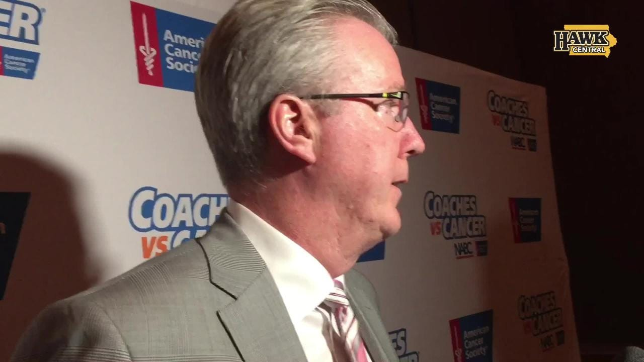 Iowa basketball coach Fran McCaffery discussed his program coming off a 14-19 season at a Coaches vs. Cancer event Friday night in West Des Moines.