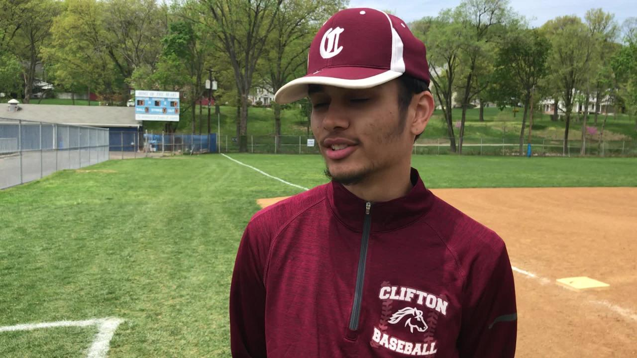 Clifton pitcher Anthony Delgado reacts to team's third straight shutout in the Passaic County baseball tournament, 13-0 at Hawthorne on May 5, 2018.