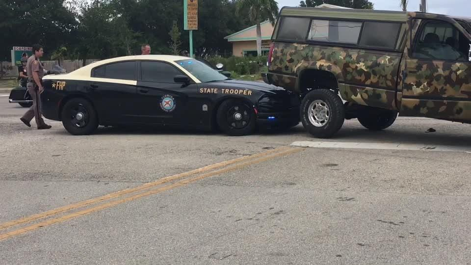 Florida Highway Patrol cruiser crashes in Indian River County