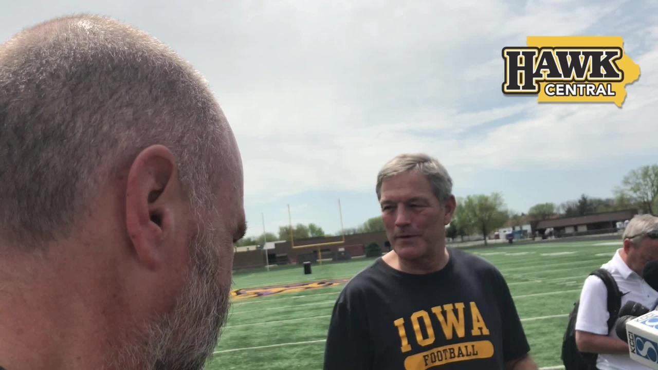 Hear how Iowa football coach Kirk Ferentz handled some interesting questions from children