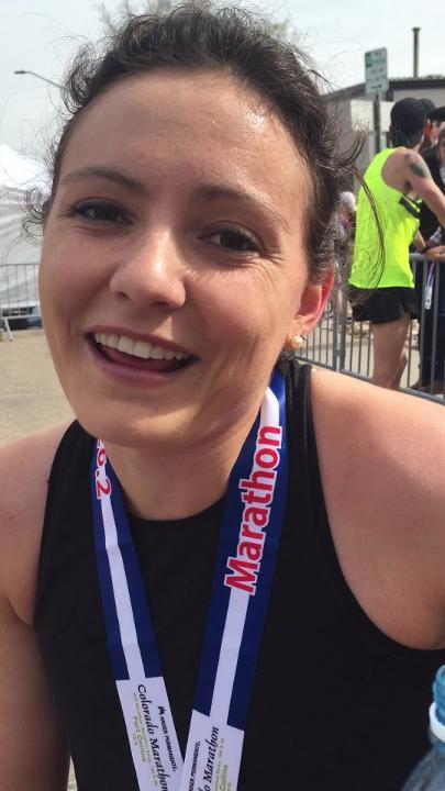 Samantha Kitchen of Weston, Massachusetts,  was the top female finisher at Sunday's Colorado Marathon.
