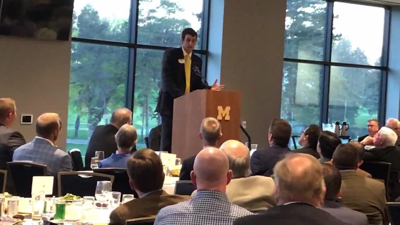 Austin Hatch speaks at the Ufer QB club banquet