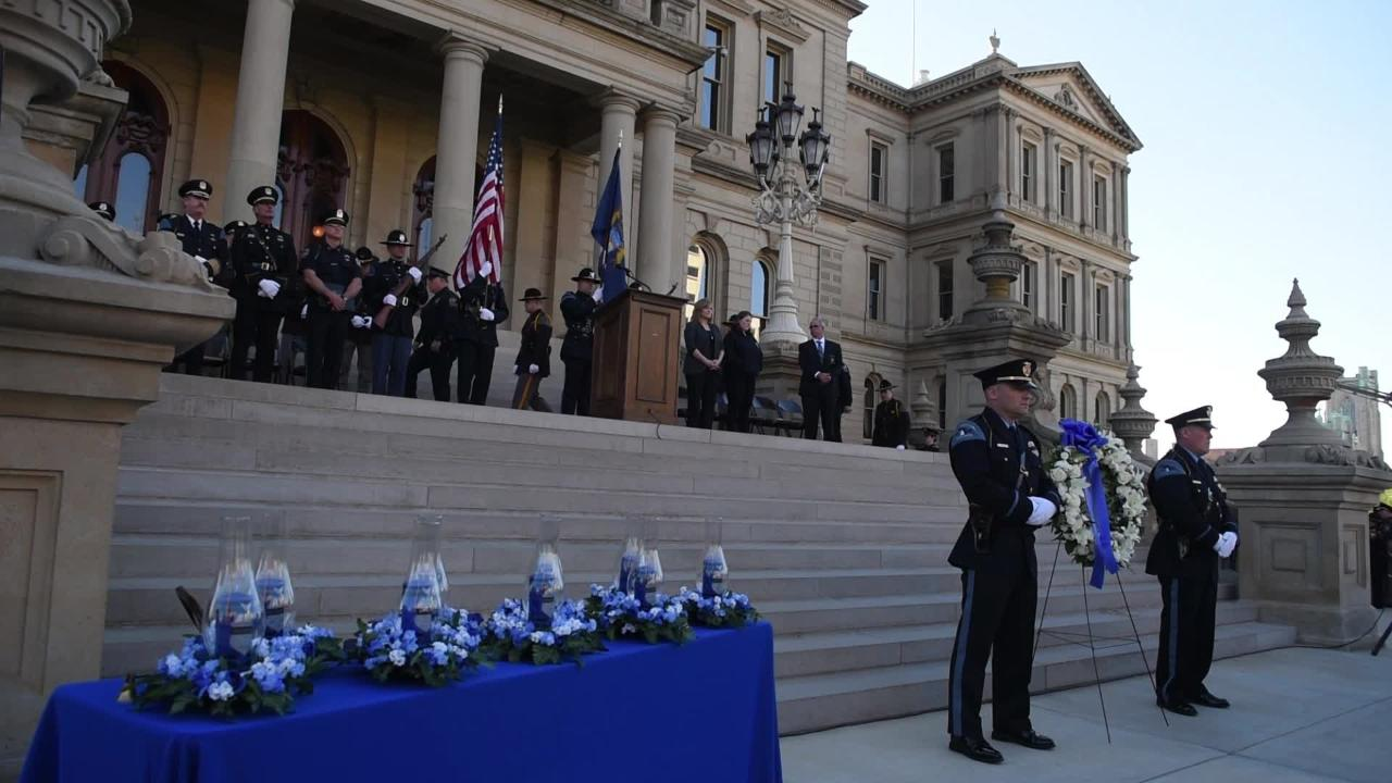 Michigan Fraternal Order of Police Executive Director Dave Hiller gives remarks during the Peace Officers Memorial Service at the Capitol in Lansing.