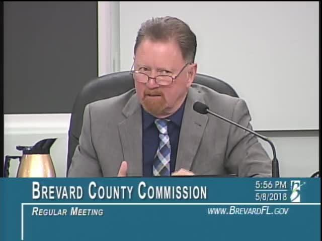 Brevard County Commissioner Jim Barfield argues for his septic tank moratorium proposal.