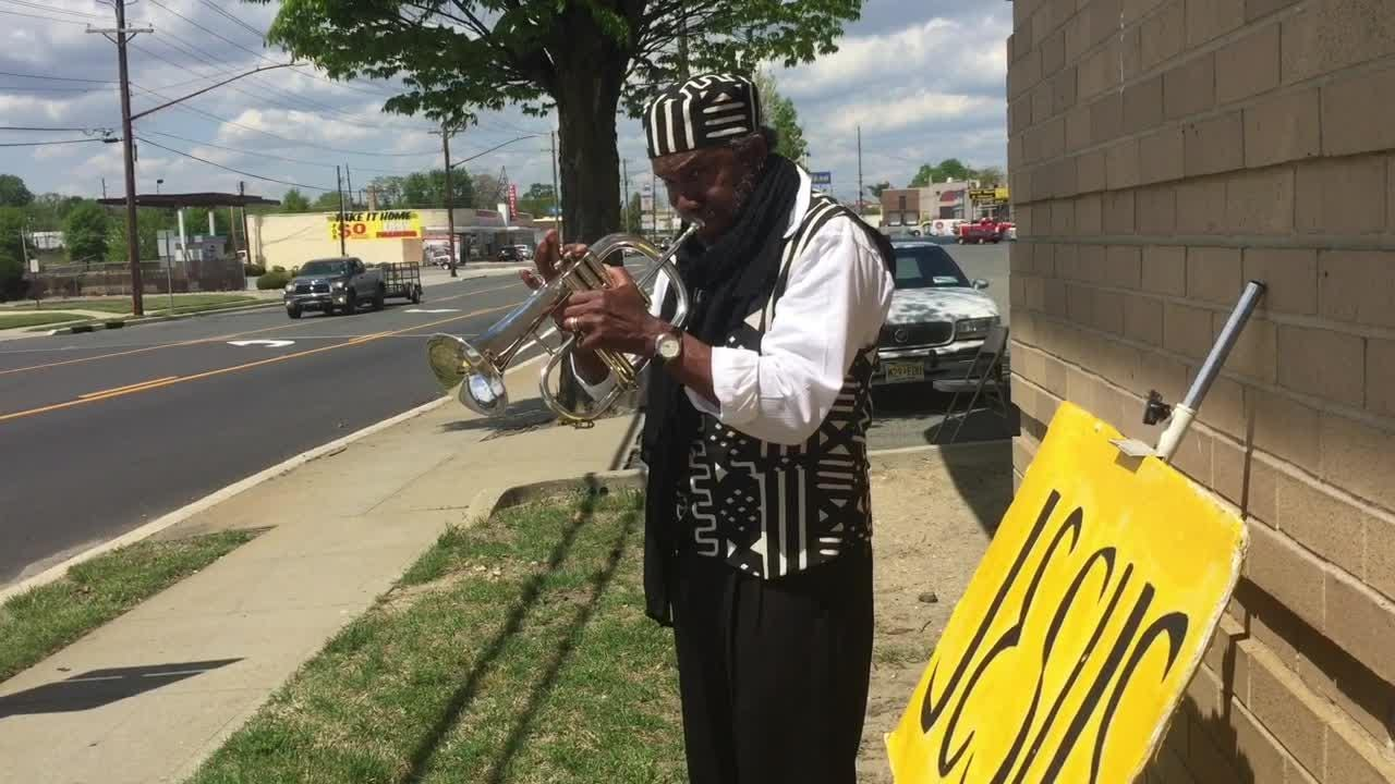 John Berry, 75, of Vineland, plays his horn alongside Delsea Drive in an effort  to bring attention to Jesus.
